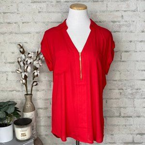 Express   Red Short Sleeve Blouse